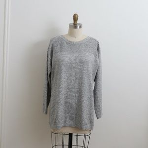 Talbots Heathered grey sweater w/ buttons LARGE